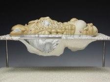"""Peel, porcelain, hair, steel (base: panties, steel), 9"""" x 15"""" x 10"""", 2011"""
