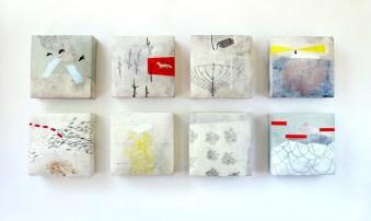 "Ceramic, stains, gouache, pencil, encaustic, cold wax, 38 x 18 x 3"""
