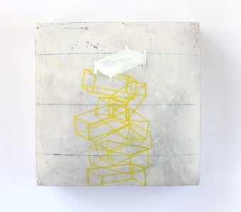"Ceramic, stains, gouache, pencil, cold wax, 8 x 8 x 3"""