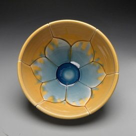Gold and Blue Bowl, 2012, 5x9x9""