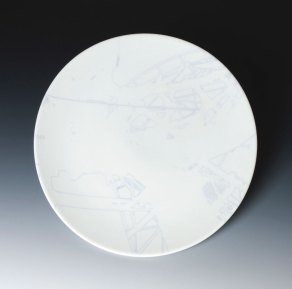 "Plate, porcelain, glaze, and china paint, 11"" x 11"""