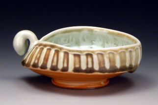 "Bowl, glazed and salted porcelain, 5"" x 5"" x 2.5"", 2012"