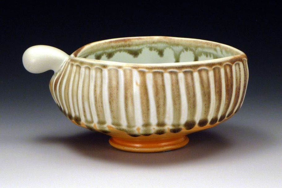 "Bowl, glazed and salted porcelain, 7"" x 6"" x 3"", 2012"