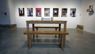 "Jeni Hansen Gard, ""Partake Columbus, MFA Thesis Exhibition, detail of table and portraits"""