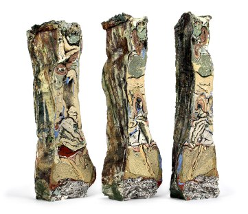 2015, Various reclaimed ceramic materials; 17.5″ x 6″ x 3.5″ (left), 18″ x 6″ x 3″ (center), 18″ x 5″ x 3.5″ (right)