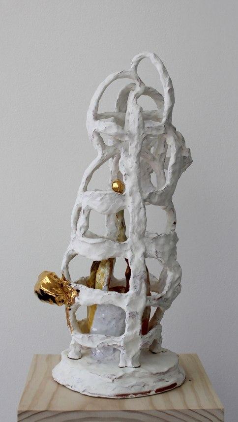 terra cotta, slip, glaze, gold luster, 20 in x 8 in x 8 in, 2012