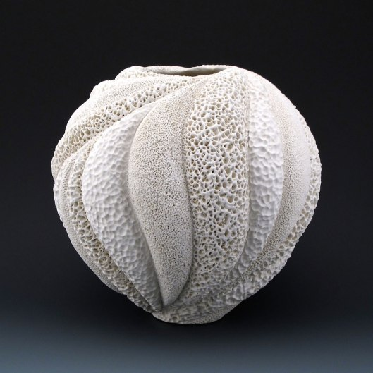 "9"" x 9 1/4"", wheel thrown stoneware, porcelain slip, clear glaze. electric oxidation Cone 6"
