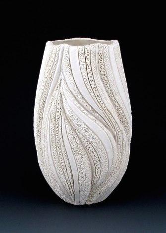 "8 1/4"" x 5"", wheel thrown stoneware, porcelain slip, clear glaze. electric oxidation Cone 6"