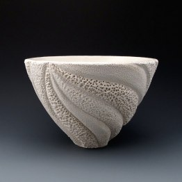"5 1/4"" x 8"", wheel thrown stoneware, porcelain slip, clear glaze. electric oxidation Cone 6"
