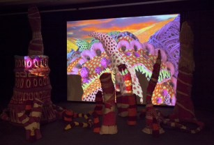 "2016, Installation: ceramics, metal, fabric, wool, wire, paint, epoxy, video projection, 120 x 504 x 384"""
