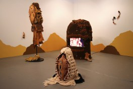"2018, Installation: ceramics, metal, fabric, leather, wool, wire, paint, epoxy, toy guns, video, 120 x 192 x 96"""