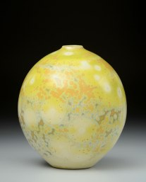 Porcelain, Cone 10 Oxidation, Shiny Crystalline Glaze, 7 inches tall