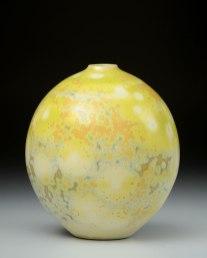 Porcelain, Cone 10 Oxidation, Shiny Crystalline Glaze, 7 inches tall