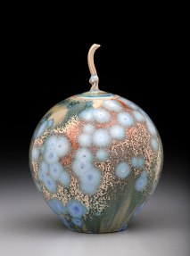 Porcelain, Cone 10 Oxidation, Shiny Crystalline Glaze, 8.5 inches tall