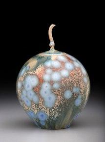 Porcelain, Cone 10 Oxidation, Shiny Crystalline Glaze, 8.5 inches tall
