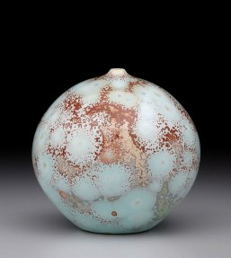 Porcelain, Cone 10 Oxidation, Multiple Shiny Crystalline Glazes, 5.5 inches tall