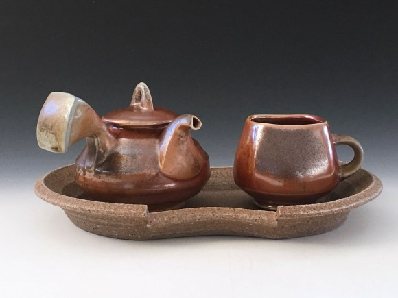 wheel thrown and slip cast porcelain, glaze, wood fired, assembled stoneware, gas reduction cooled. 6x14x6, 2017