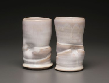 "2015, 6"" x 4"" x 3"" (h x w x d), Porcelain clay, Wheel thrown and altered clay that has been glazed and fired in oxidation to cone 6 in an electric kiln."