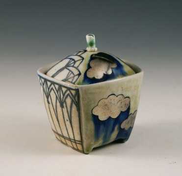 "porcelain, thrown/altered, cone 6 soda firing, 3"" x 3"" x 3"" photo: Sean O'Connell"