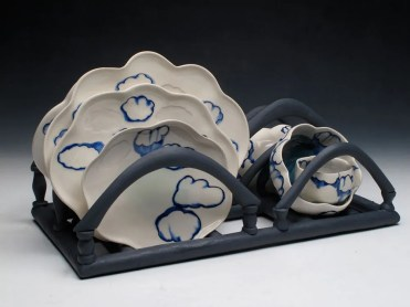 porcelain and black clay, thrown/altered, press molds, c. 6 oxidation, photo: Lilly Zuckerman