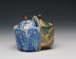 "porcelain, thrown and altered, cone 6 soda firing neutral environment, 5""x4""x4"", photo: Lilly Zuckerman"