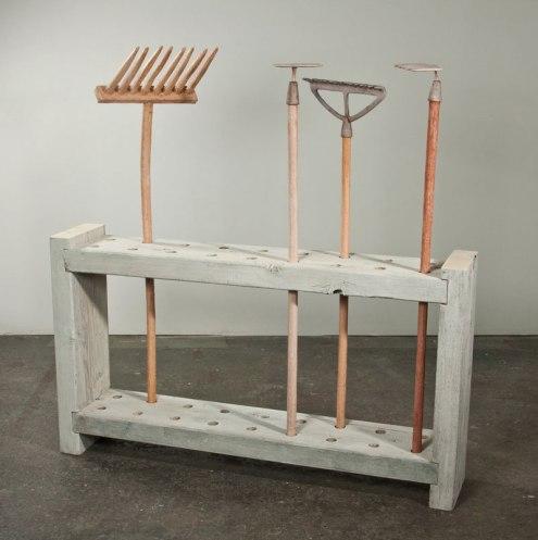 """earthenware & wood, 11 x 60 x 64,"""" 2013"""