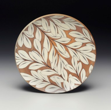 Wheel-thrown stoneware with flashing slip. Hand painted underglaze imagery. Fired in a propane fueled salt kiln. 2015