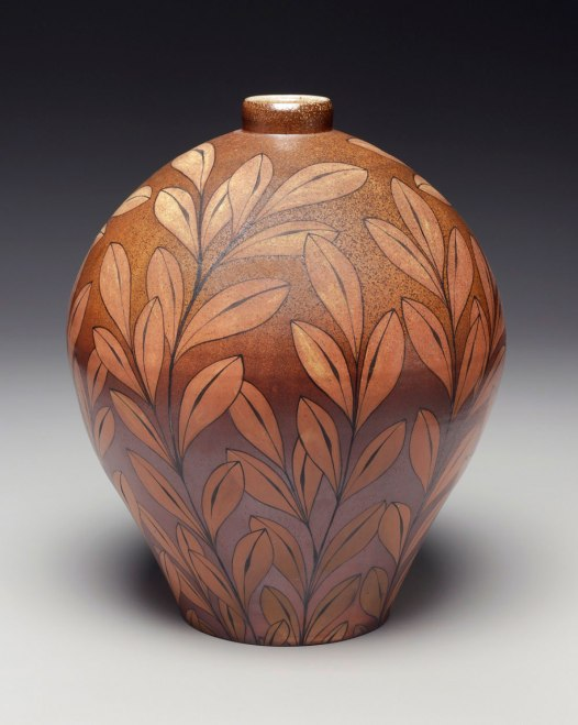 Wheel-thrown stoneware with flashing slip. Hand painted underglaze imagery. Fired in a wood fueled salt kiln. 2014
