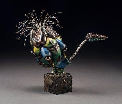 B-Mix clay, Glaze, China Paint, Steel, wire, glass beads, 2012