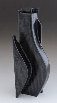 """2015. Slip cast porcelain using modular mold system, overglaze decals, 7"""" x 7"""" x 18″"""