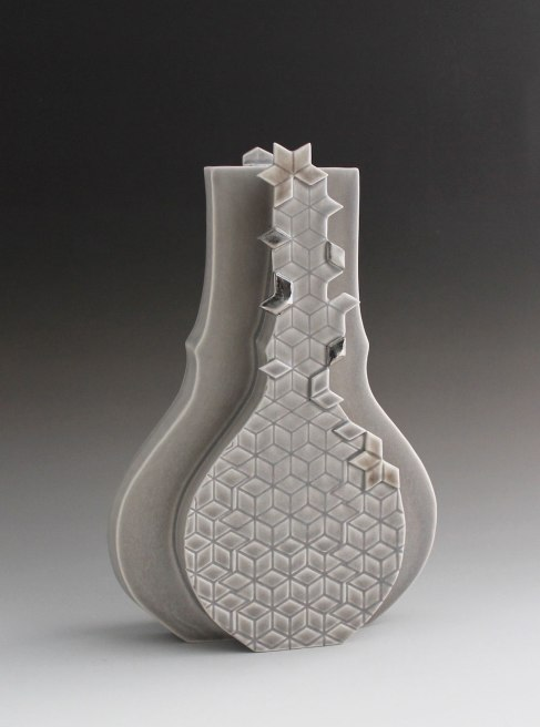 "2015. Slip cast porcelain using modular mold system, appliqué, 9"" x 3"" x 12″"