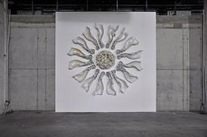 """2016, glasierte Keramik, ca. 2,6 m x 2,6 m x 0,45 m, - glazed ceramic, 102"""" x 102"""" x 17"""""""