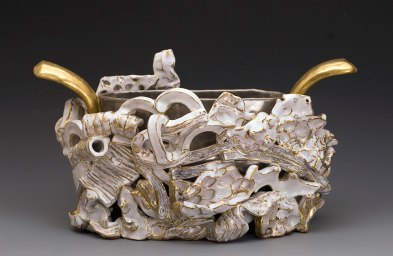 "2013, Terracotta clay, maiolica, gold luster, 16""W x 11""H x 8""D"