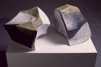 "Painted Shapes, 2010, Earthenware clay, glaze and wax. 32""x22""x16"""
