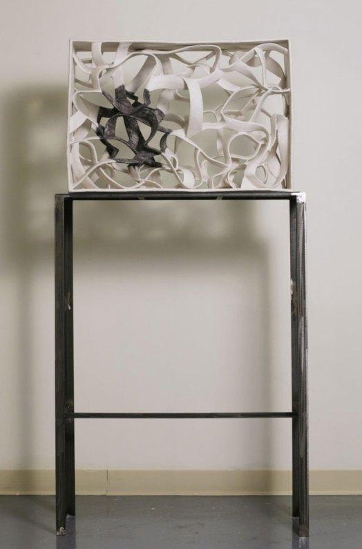 "Ribbon, 2010, Earthenware clay, glaze and steel. 28""x10""x23"""