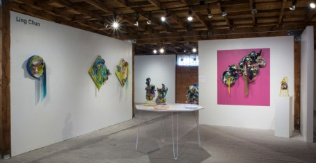 """Ling Chun, """"First Year Fellowship Show at Archie Bray Foundation"""" ( installation shot )"""