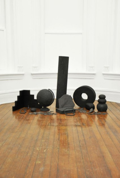 Installation shot, Black stoneware, wood, stain, magic sculp, paint, 2015