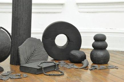 Black stoneware, wood, stain, magic sculp, paint, 2015