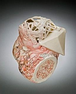 "porcelain, underglaze, glaze, gouache, varnish, cone, 65"" x 7"" x 3.5"", 2012"