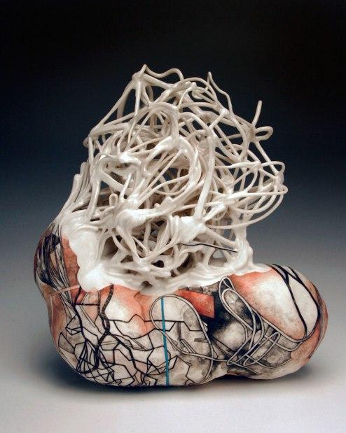 "porcelain, glaze, underglaze, gouache, varnish, 7"" x 6.5"" x 3"", 2013"