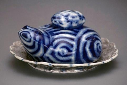 """2015, Porcelain clay, glaze, 6""""D x ^""""W x 3.5""""H"""