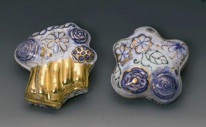 "2013, Terracotta clay, maiolica, gold luster, 5D"" x 5""W x 2""H"