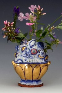 """2014, Terracotta clay, maiolica, gold luster, china paint, 6""""H x 4""""W d 2""""D"""