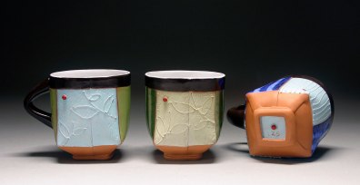 Handbuilt earthenware, terra sigillata, underglaze, and glaze, 4x3x3 each