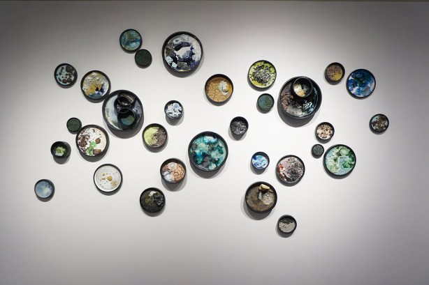 "2017, Ceramic, locally collected and recycled materials, and mixed media, 120"" x 70"" x 6"""