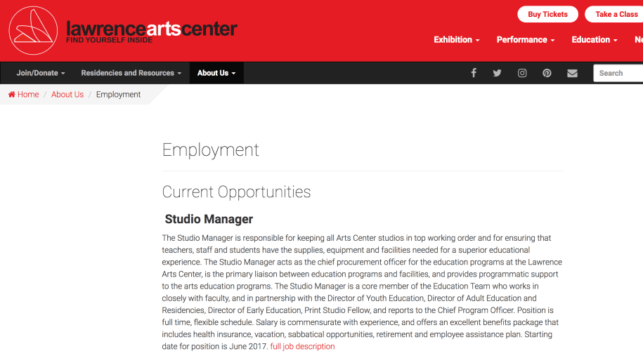 Lawrence Arts Center website screenshot