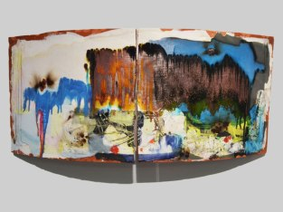 "red earthenware, slips, glaze. 24""h x 60""w x 15""d, 2013."