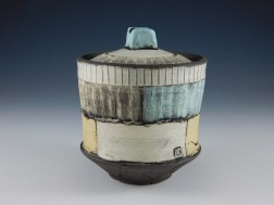 Brown Stoneware, Press molded, Terra Sig, Underglaze and Glaze fired to Cone 6, 2018