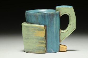 """4""""h x 4""""w x 3""""d, Hand built cone 3 red clay, terra sigillata, and glaze. Electric fired."""