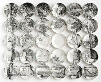 "2012, 60"" W x 50"" H x 1.5"" D, 30 hand-painted ceramic plates with glaze, Photo: John Polak"